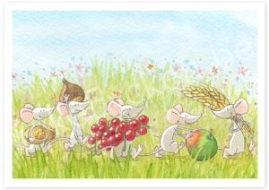 Herfst-muizen enkele kaart 14,8cm x 10,5cm